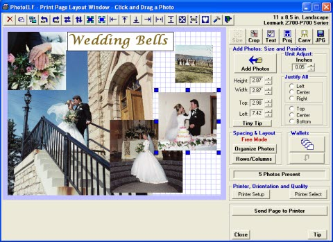 picture of photo printing software window showing features